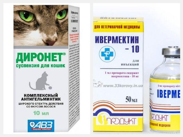 Препараты Диронет АВЗ и Ивермектин