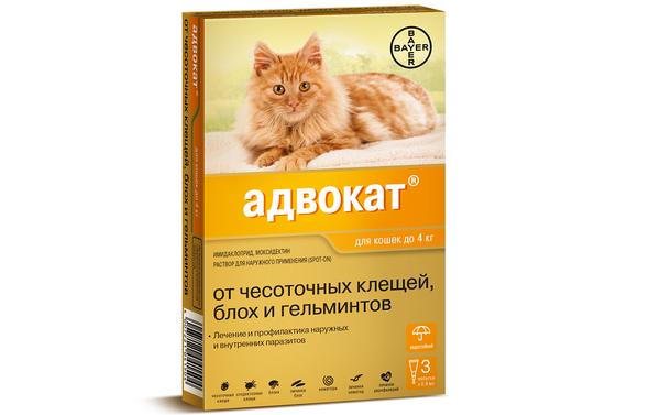 Адвокат капли от блох, клещей и глистов для кошек